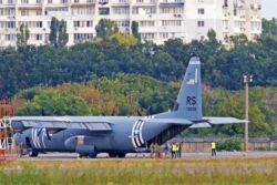 C-130J Super Hercules ВВС США совершил вынужденную посадку в Украине