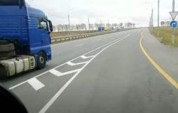 Водитель MAN одел на грузовик колесо от легковой машины (ВИДЕО)