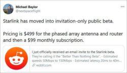 Спутниковый интернет SpaceX будет стоить 99 долларов в месяц