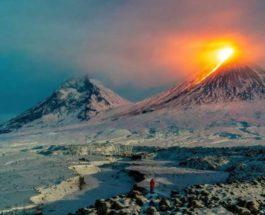 Ключевская сопка, вулкан, извержение,