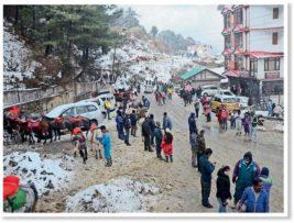 Индия, снегопад, дороги,