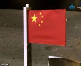 Китай, флаг, Луна,