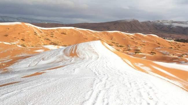 Сахара, пустыня, снег,