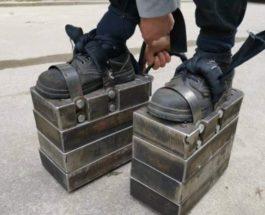 Китай, железные ботинки, ноги, тренировка ног,