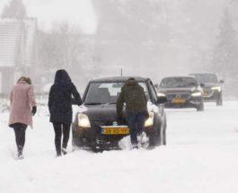 Нидерланды, снег, метель,