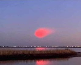 Розово-красный светящийся объект, НЛО, свечение, Нью-Йорк, Нью-Джерси,