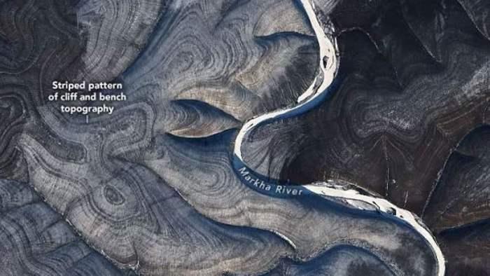 полосы, Россия, спутник, НАСА, Сибирь,