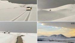 Сильный град обрушился на Саудовскую Аравию и застелил белым всю пустыню