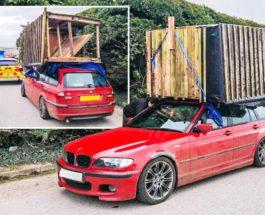 BMW, крыша, сарай, курятник,
