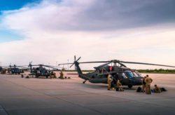 Вертолеты армии США CH-47 и Blackhawk прибывают в Болгарию