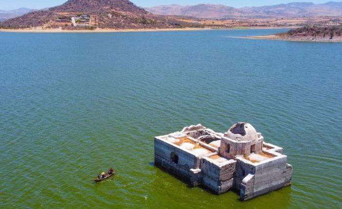 церковь, старая церковь, Мексика, озеро, засуха,