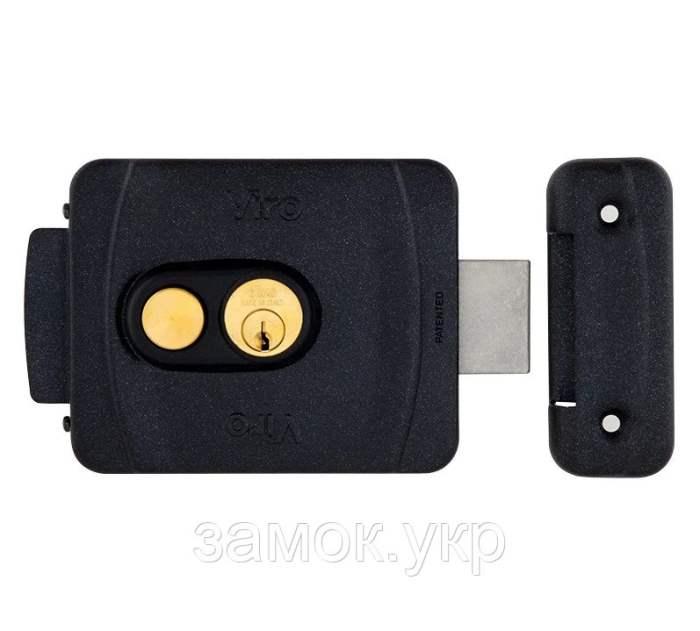 Замок электромеханический VIRO V9083.0794P накладной, с кнопкой черный антрацит, фото 1