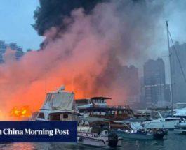 Гонконг, пожар, лодки,