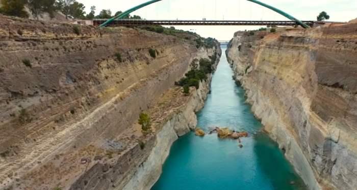 Коринфский канал, Греция, обрушение,