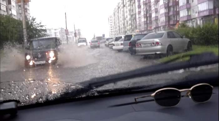 ливень, Красноярск, потоп, дождь, наводнение,