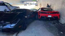 На видео засняли аварию 3-х автомобилей Ferrari