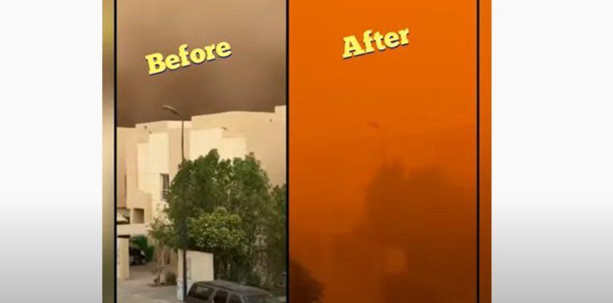 Эр-Рияд, Саудовская Аравия, песчаная буря,