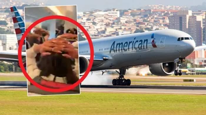 самолет, пассажиры, руки за головой, AA2289,