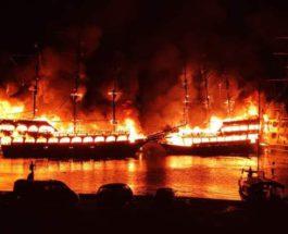 Аланья, корабли, пожар, Турция,