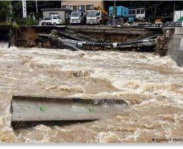 Япония, наводнения, оползень,