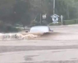 Tesla, плавает, наводнение,