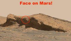 На Марсе найдено лицо вырезанное в скале