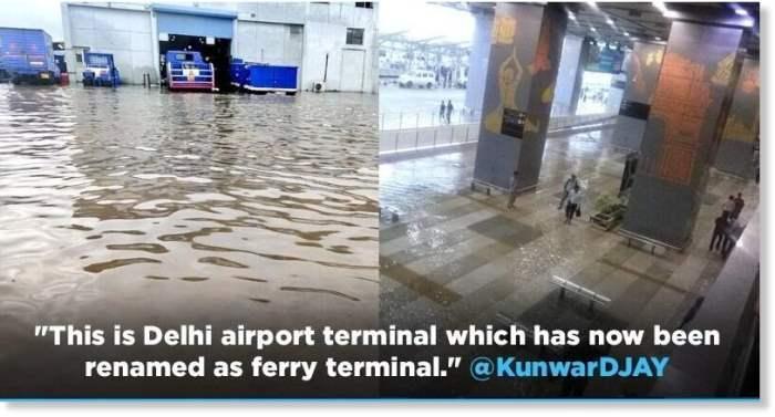 аэропорт, Дели, затопление, Индия,