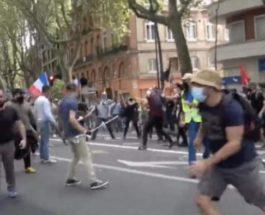 протесты, Франция, драка,