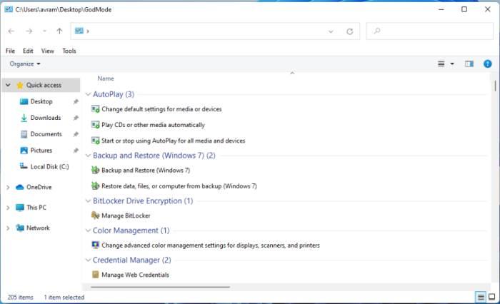 Windows 11, Режим Бога,