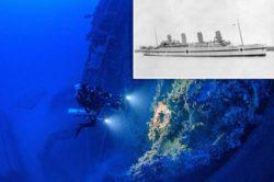 Новые кадры затонувшего «Британника», брата «Титаника».