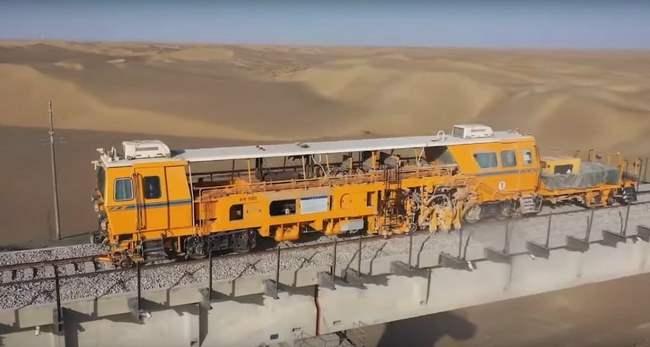 Китай, пустыня, железная дорога,