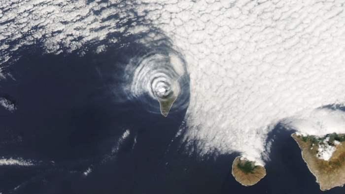 Ла-Пальма, спутник, вулкан, извержение,