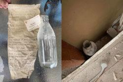 Мужчина нашел послание 50-летней давности между двумя стенами своего дома